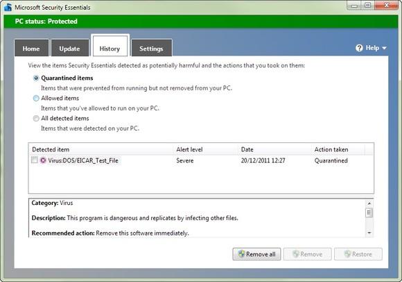 quarantine 580 90 Review: Microsoft Security Essentials